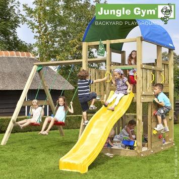 Aire de jeux Jungle Gym Farm avec toboggan jaune court et balançoire double