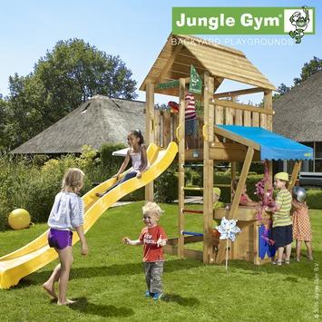 Aire de jeu Jungle Gym cabine avec long tobbogan jaune en petit magasin
