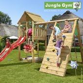 Aire de jeu Jungle Gym cabine avec long tobbogan rouge, escalade et balançoire