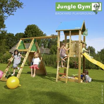Aire de jeu Jungle Gym château avec tobbogan jaune court, esclade et balançoire