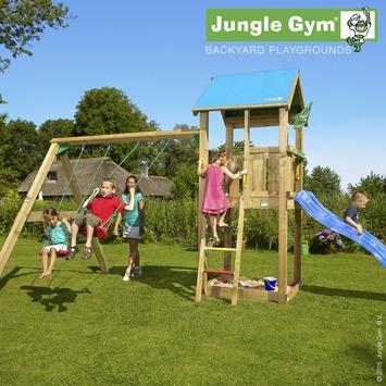 Speeltoestel Jungle Gym Castle met korte blauwe glijbaan en dubbele schommel
