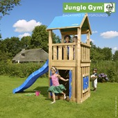 Aire de jeu Jungle Gym château avec tobbogan court bleu et petite maison