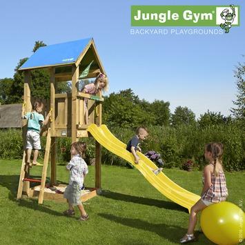 Speeltoestel Jungle Gym Castle met korte gele glijbaan