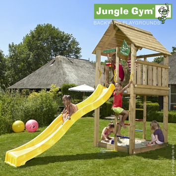 Aire de jeu Jungle Gym cabine avec long tobbogan jaune