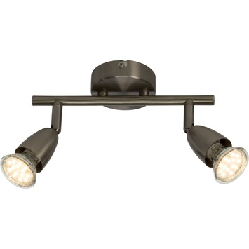 Support 2 spots LED Amalfi Brilliant 2x GU10 3W 250 Lm chromé mat