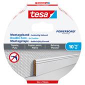 Tesa Powerbond montagetape voor gevoelige oppervlakken wit 5000x19 mm