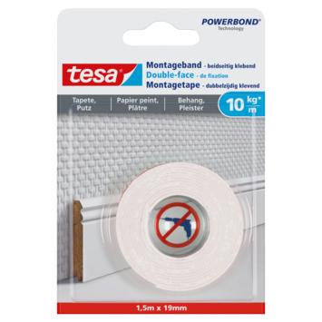 Double-face de montage Tesa Powerbond pour surfaces fragiles 19 mm 1,5 m blanc