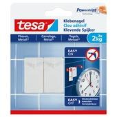 Tesa klevende spijker voor tegels en metaal wit 2 kg 2 stuks