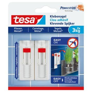 Clou adhésif réglable Tesa pour carrelages et métal max. 3 kg blanc 2 pièces