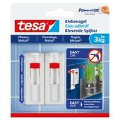 Tesa klevende spijker voor tegels en metaal verstelbaar wit 3 kg 2 stuks