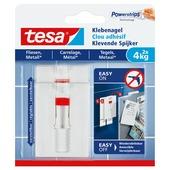 Tesa klevende spijker voor tegels en metaal verstelbaar wit 4 kg 2 stuks