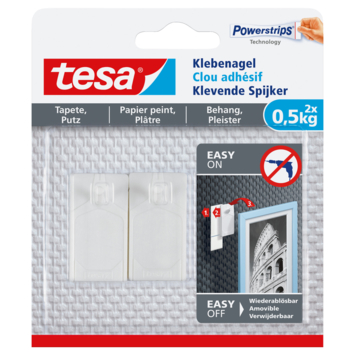 Clou adhésif Tesa pour surfaces fragiles max. 0,5 kg blanc 2 pièces