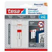 Clou adhésif réglable Tesa pour surfaces fragiles max. 2 kg blanc 2 pièces