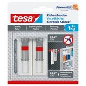 Tesa klevende schroef voor gevoelige oppervlakken verstelbaar wit 1 kg 2 stuks