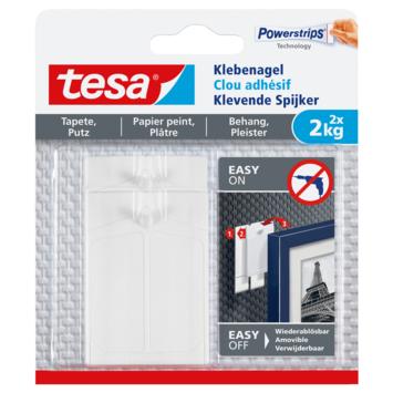 Clou adhésif Tesa pour surfaces fragiles max. 2 kg blanc 2 pièces