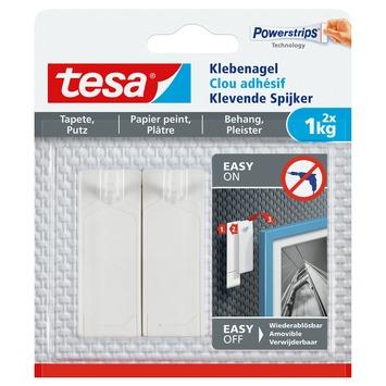 Clou adhésif Tesa pour surfaces fragiles max. 1 kg blanc 2 pièces