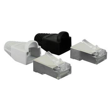 Q-link UTP connector RJ45 4 stuks incl. 2 zwarte en 2 witte hulzen