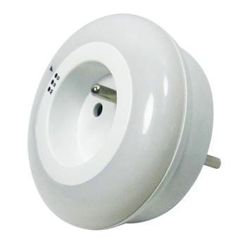 Profile nachtlamp LED met stopcontact groen/blauw/wit licht met dag- en nachtsensor