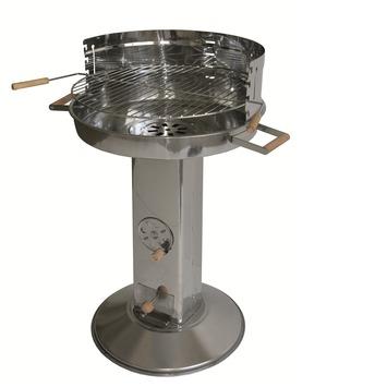 Houtskoolbarbecue pilaarmodel inox