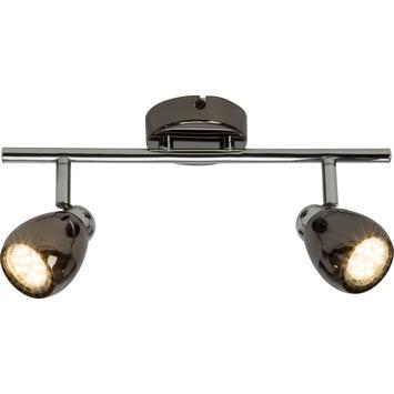 Plafonnier 2 spots LED Milano GU10 3 W 250 lumens Brillant chromé noir