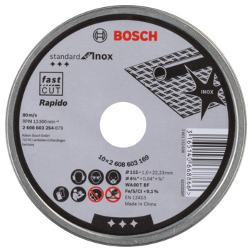 Disque à tronçonner Bosch Professional 1 mm 115 mm 10 pièces