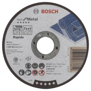 Bosch Professional doorslijpschijf recht best for metal - rapido a 60 w bf, 115 mm, 22,23 mm, 1,0 mm 1st