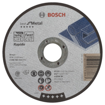Bosch Professional doorslijpschijf recht best for metal - rapido a 60 w bf, 125 mm, 22,23 mm, 1,0 mm 1st