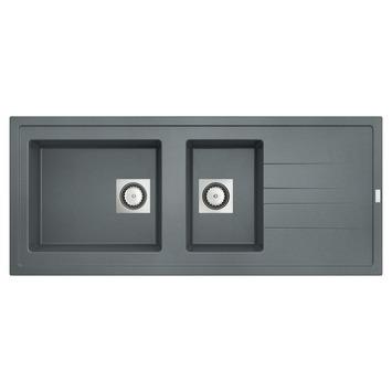 Van Marcke Molto spoeltafel 117x50 cm 2 bakken beton grijs