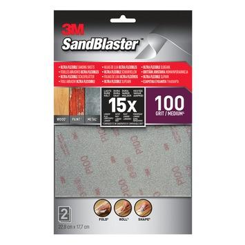 Feuilles de ponçage 3M SandBlaster Ultra Flexible P100 2 pièces