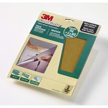 Assortiment papier de ponçage 3M SandBlaster vert 3 pièces