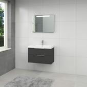 Ensemble meuble de salle de bain Muza Bruynzeel 80cm noir avec miroir