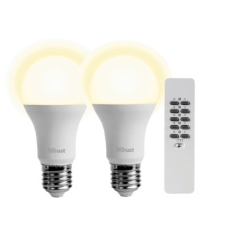 Dimbare Led Lamp E27.Trust Smarthome Aled2 10r 2x Draadloos Dimbare Led Lamp E27 9 W 60 W 806 Lumen Incl Afstandsbediening