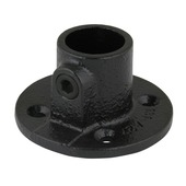 Steigerbuis koppelstuk ronde voetplaat  Ø 27 mm zwart