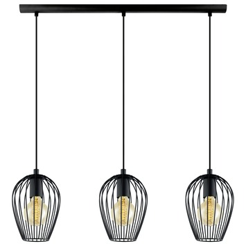 Eglo Vintage pendellamp Newtown E27 max 3x 60 W exclusief lamp zwart