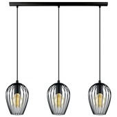 Suspension Newtown E27 max 3x60 W noir Vintage Eglo ampoules non fournies