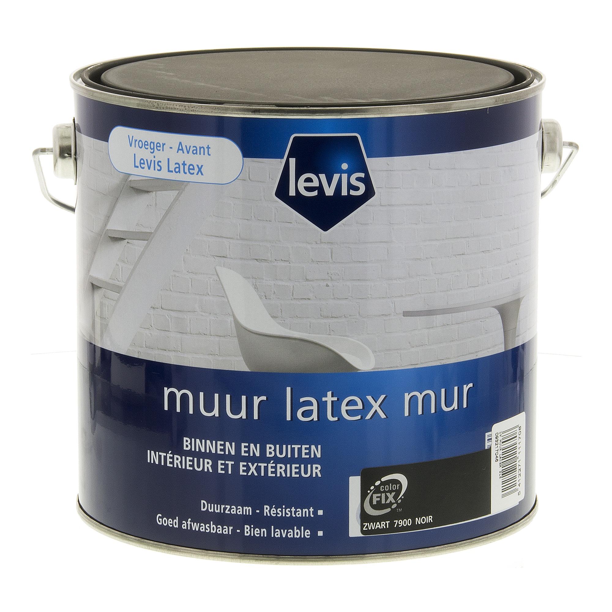 Peinture latex mur levis mat noir 2 5 l peinture mur for Levis peinture salle de bain