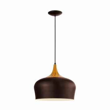 Suspension Obregon Eglo Modern E27 brun chêne ampoule non fournie