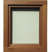 Draaikiepraam hout 118x96 cm U=1,1 NS1109 rechts bruin