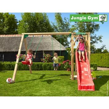 Jungle Gym Tower met korte rode glijbaan met wateraansluiting en dubbele schommel