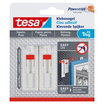 Clou adhésif réglable Tesa pour surfaces fragiles max. 1 kg blanc 2 pièces