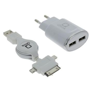 Q-link oplaadset met lader 2x USB en een kabelroller USB naar iPhone 4, 5/6/7 en micro-USB