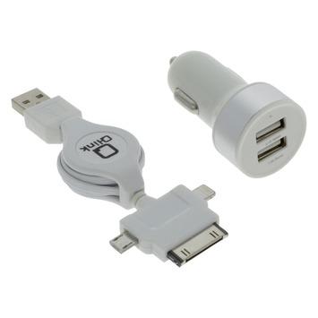 Jeu de chargeurs Q-link auto 2x USB et enrouleur USB vers iPhone 4, 5/6/7 et micro-USB