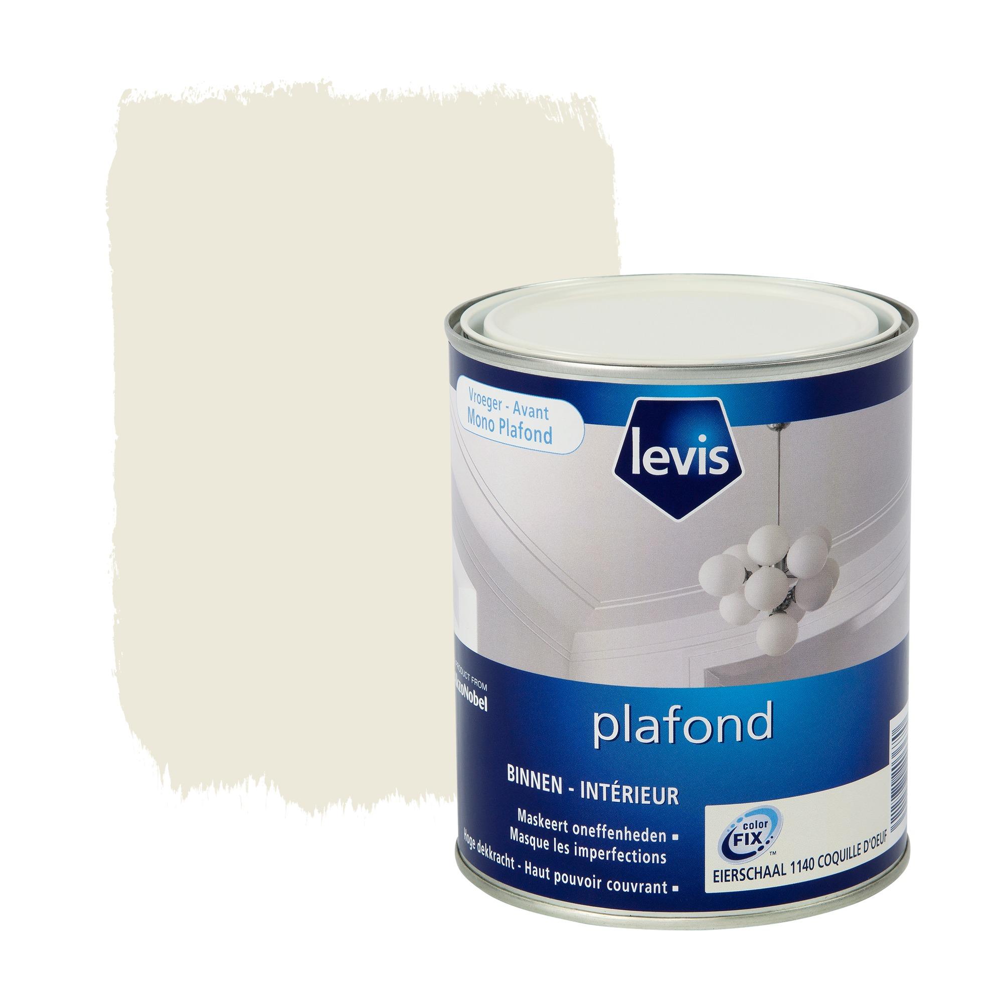 Peinture plafond levis extra mat coquille d uf 1 l for Peinture mat plafond