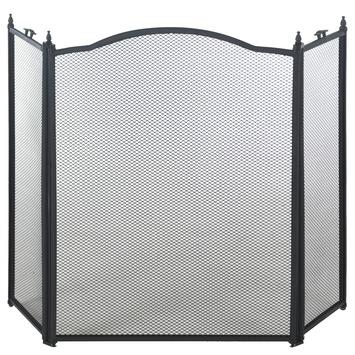 Haardscherm classic zwart 96x62 cm