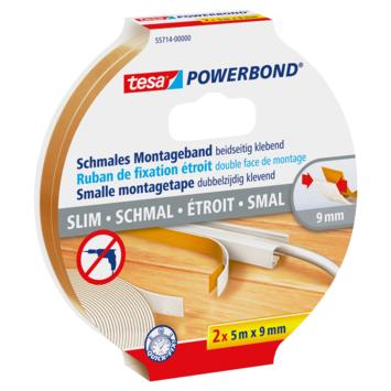 Ruban de fixation étroit Tesa Powerbond 5 m x 9 mm 2 pièces