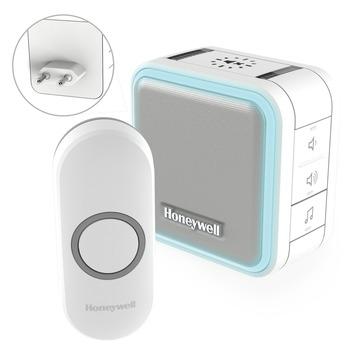 Honeywell plug-in deurbel met drukknop slaapmodus en nachtverlichting serie 5 200 meter wit