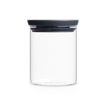Brabantia glazen voorraadbus dark grey 0,6 L