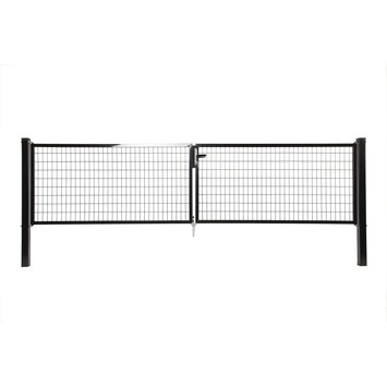 Napoli dubbele poort zwart 200x2x150cm RAL9005