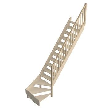 """Jura traditionele leuning """"A"""" met ingefreesde balustrade voor trap met kwartslag"""