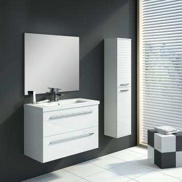 Meuble de salle de bains Hera Handson 80 cm blanc, set avec armoire-colonne